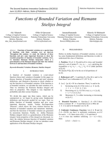 Functions of Bounded Variation and Riemann Stieltjes Integral