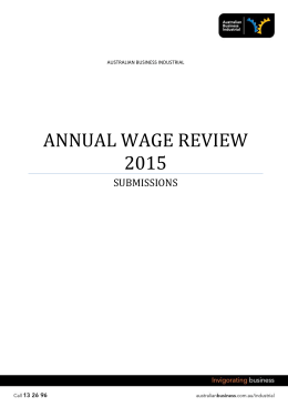 Annual Wage Review 2015 Submissions