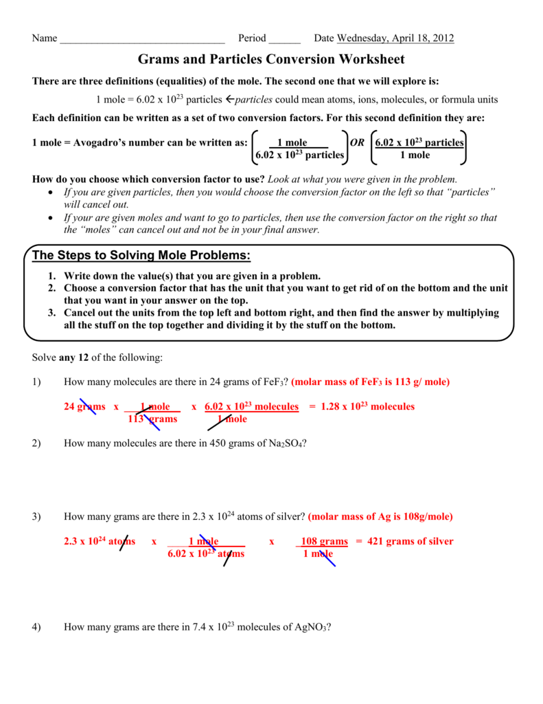 Grams and Particles Conversion Worksheet (1)