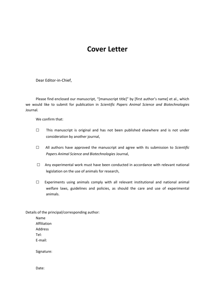 Cover Letter Template Scientific Papers Animal Science And