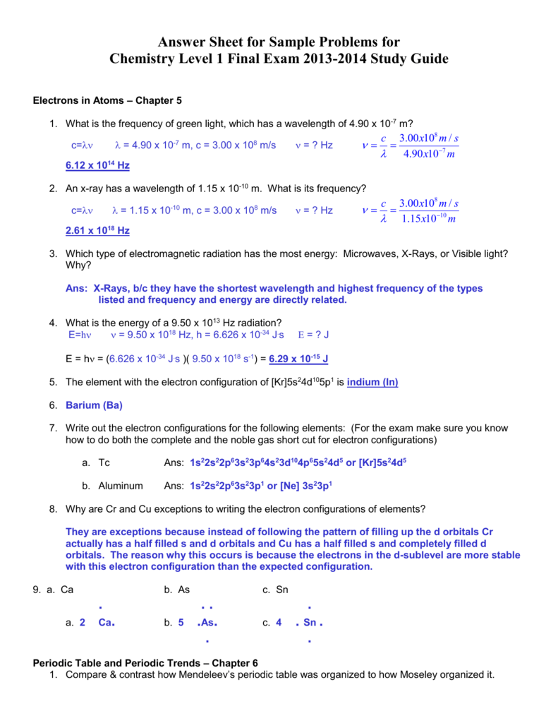 Answer Key - Honors Chem Study Guide Final Exam June 2014