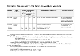 EMISSIONS REQUIREMENTS FOR DIESEL HEAVY DUTY VEHICLES