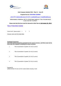 Proposal form for TEACHING COURSES