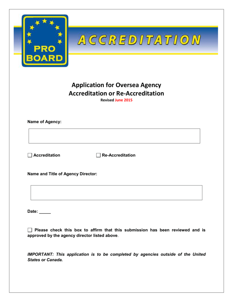 Application For Accreditation Or Re Accreditation