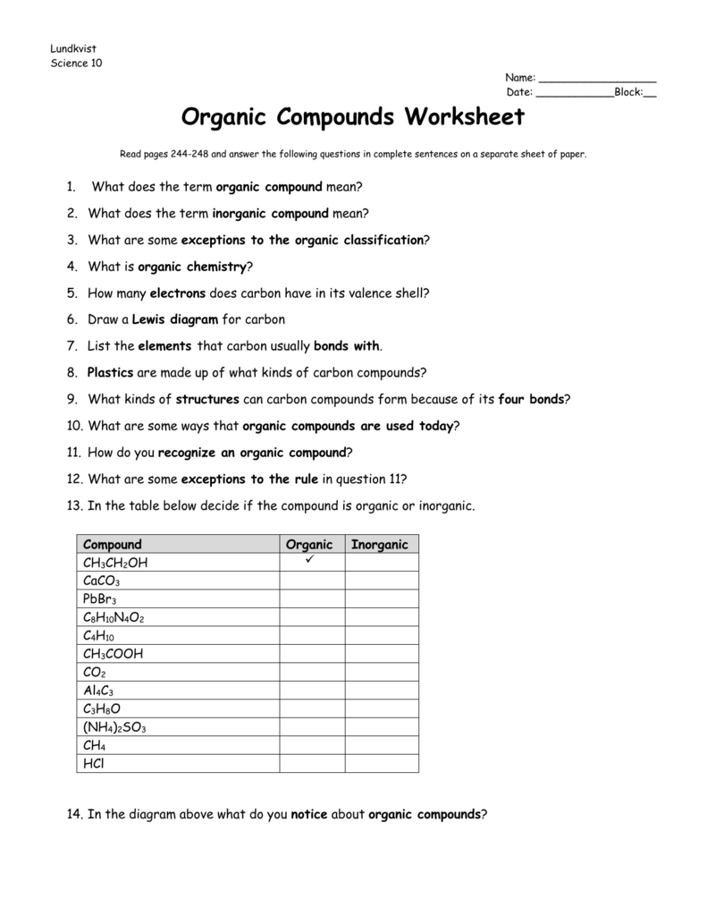Worksheet Organic Compounds
