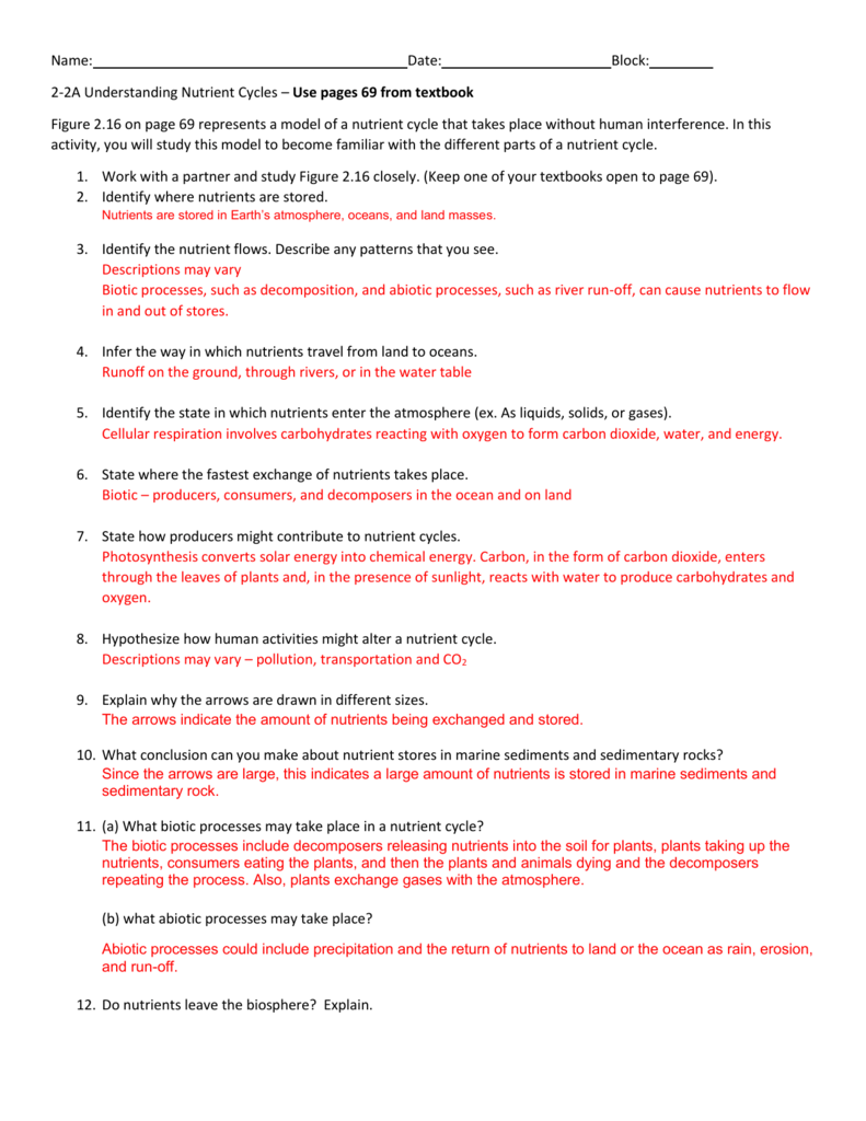 Nutrient cycles answer key – Nutrient Cycle Worksheet