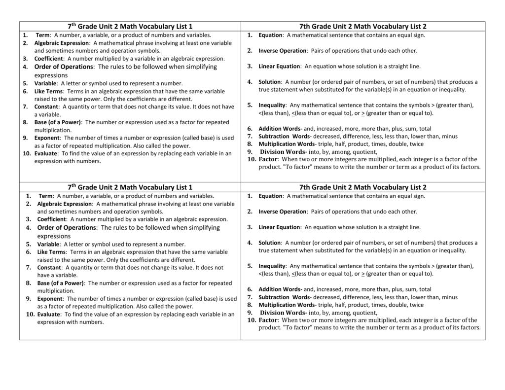 7th Grade Unit 2 Math Vocabulary List 1