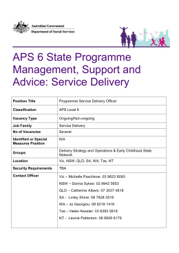 APS 6 State Programme Management, Support and