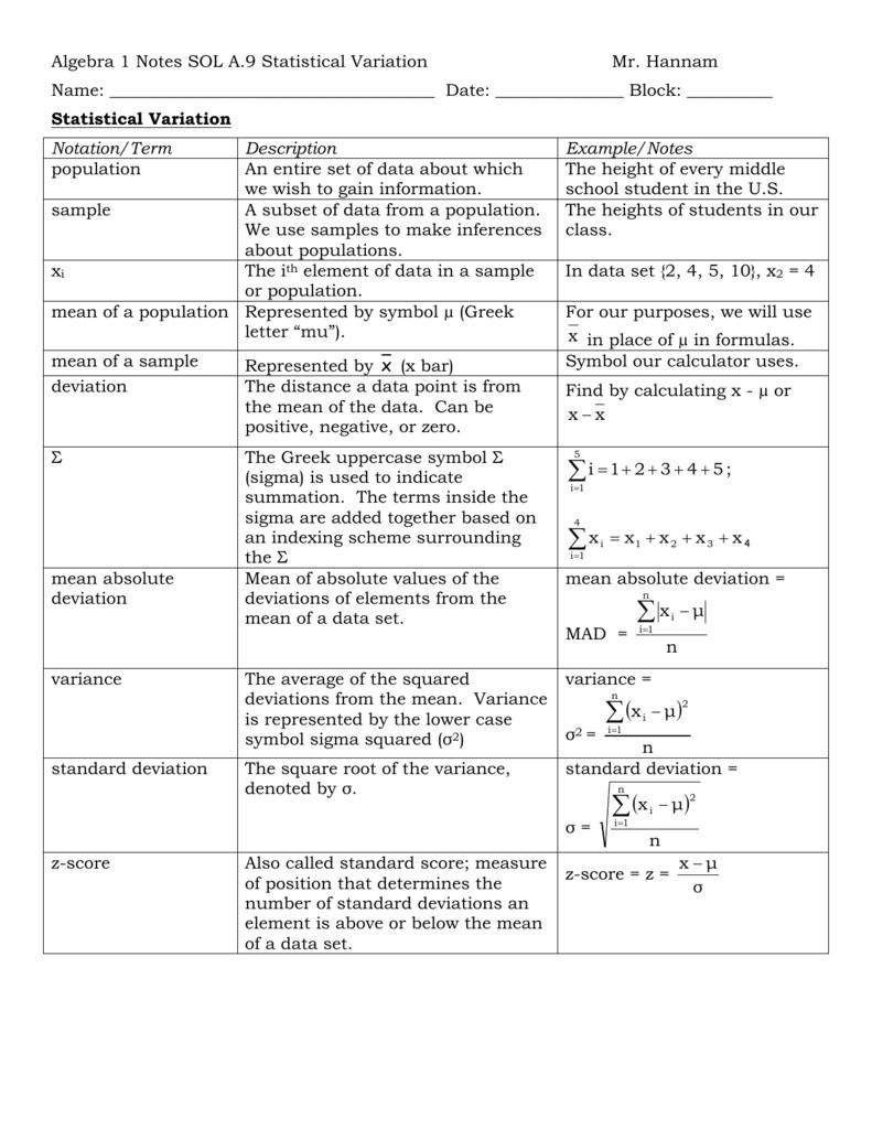 Algebra 1 Notes Sol A9 Statistical Variation Mr Hannam Algebra 1
