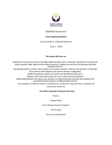 Year 9 Student Program Term 1 Science General 2015