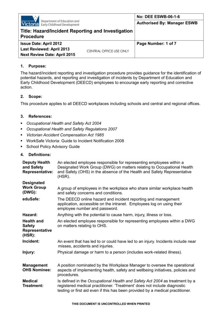 hazard  incident investigation and reporting procedure