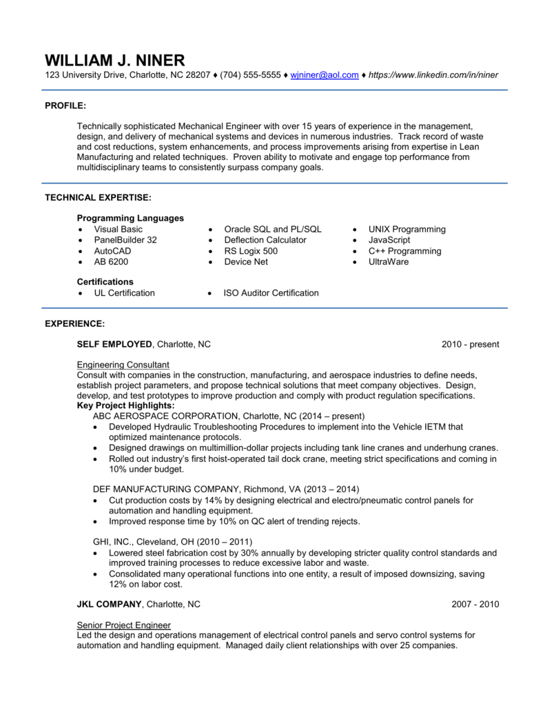 2 Page Sample Resume For Experienced