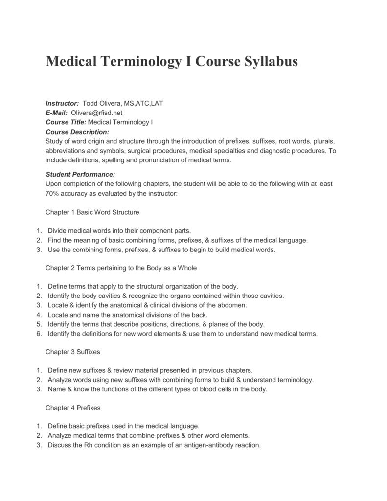 Medical Terminology I Course Syllabus