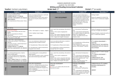 Writing and Reading Instructional Calendar