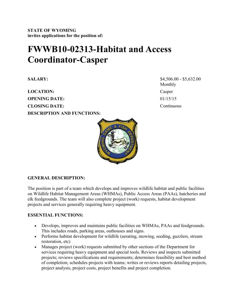 FWWB10-02313-Habitat and Access Coordinator