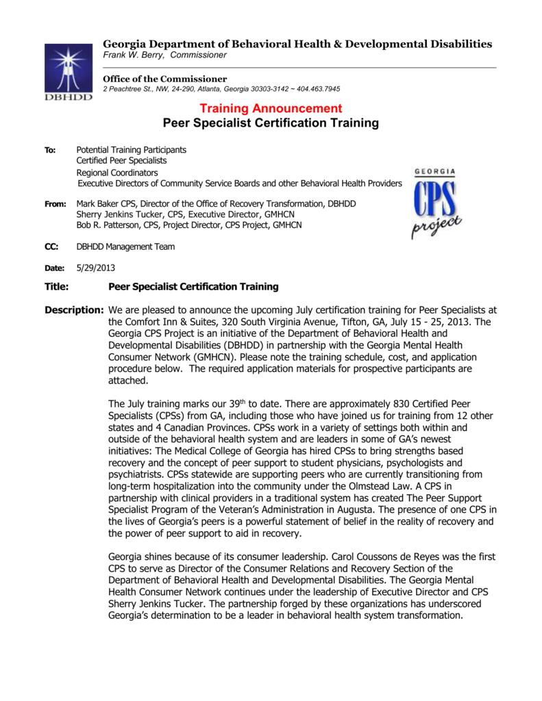 Training Announcement Peer Specialist Certification Training