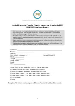 Medical Diagnostic Form for Athletes who are