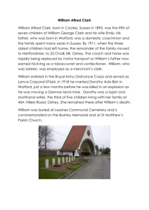 CLARK William Alfred - Bushey First World War Commemoration
