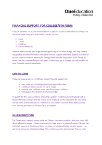 Financial Support for College/6th form