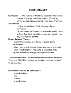 recordedDestructive effects of earthquakes