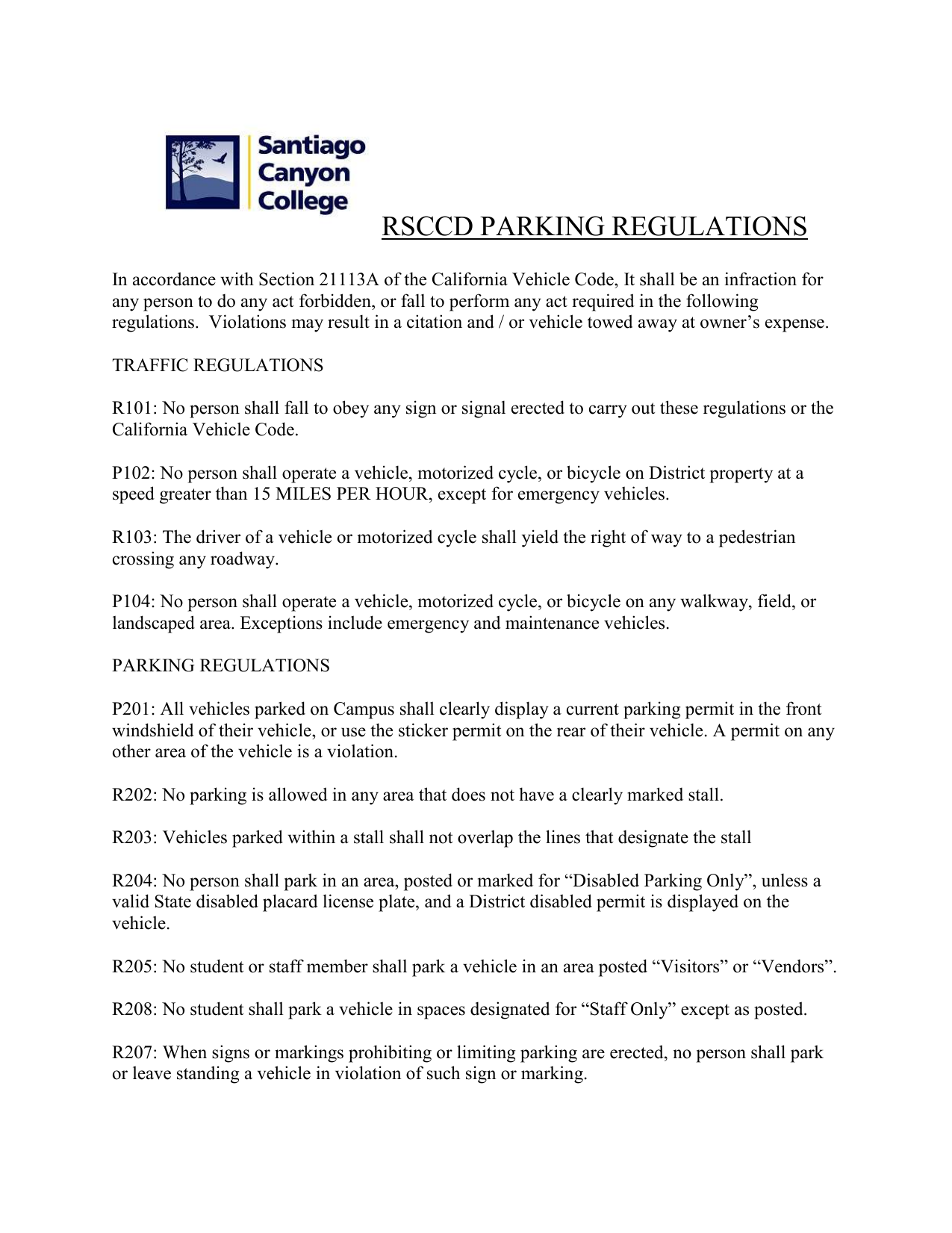 SCC Parking Regulations - Santiago Canyon College