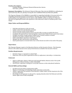 Position Description: Programs Manager, Holocaust Memorial