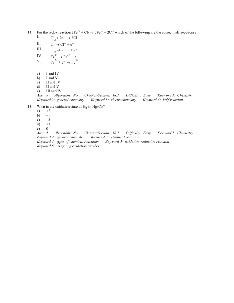 Electrochemistry Practice Test Key