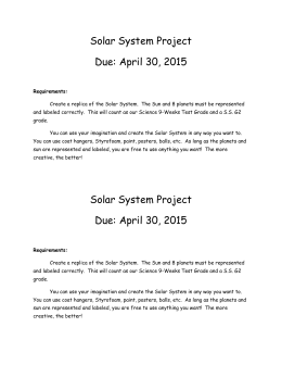 Solar System Project Due: April 30, 2015 Requirements: Create a