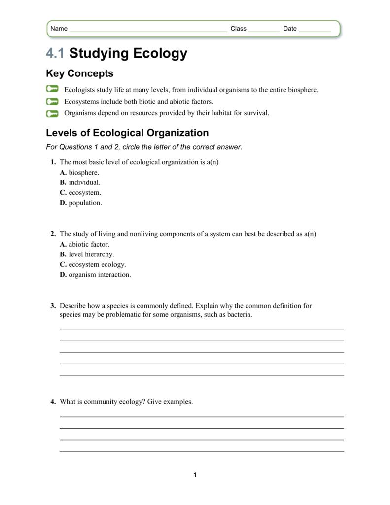 Worksheets Ecology Vocabulary Worksheet 4 1 studying ecology key concepts