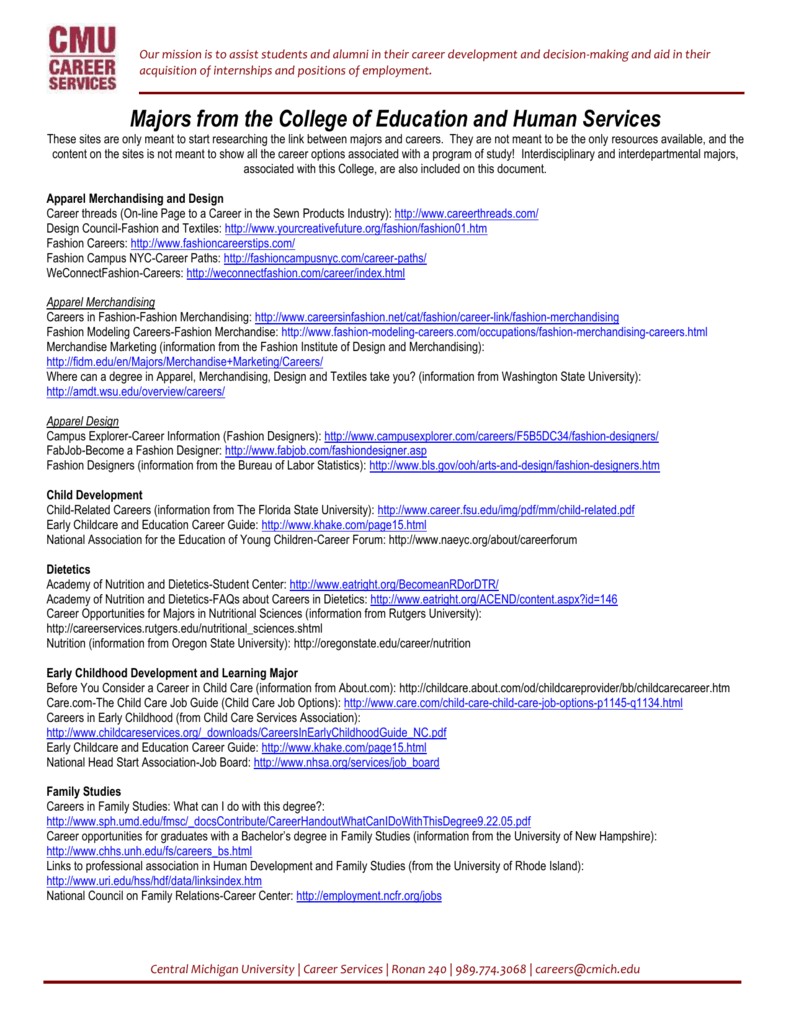 Majors From The College Of Education And Human Services