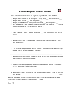Honors Program Senior Checklist