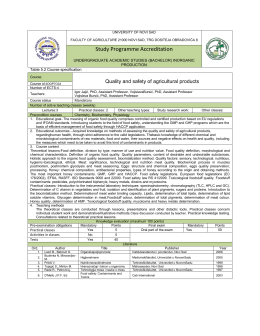 Course: Quality and safety of agricultural products Course id