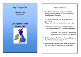 Yr 1&2 Our Island home newsletter - Terms 3&4