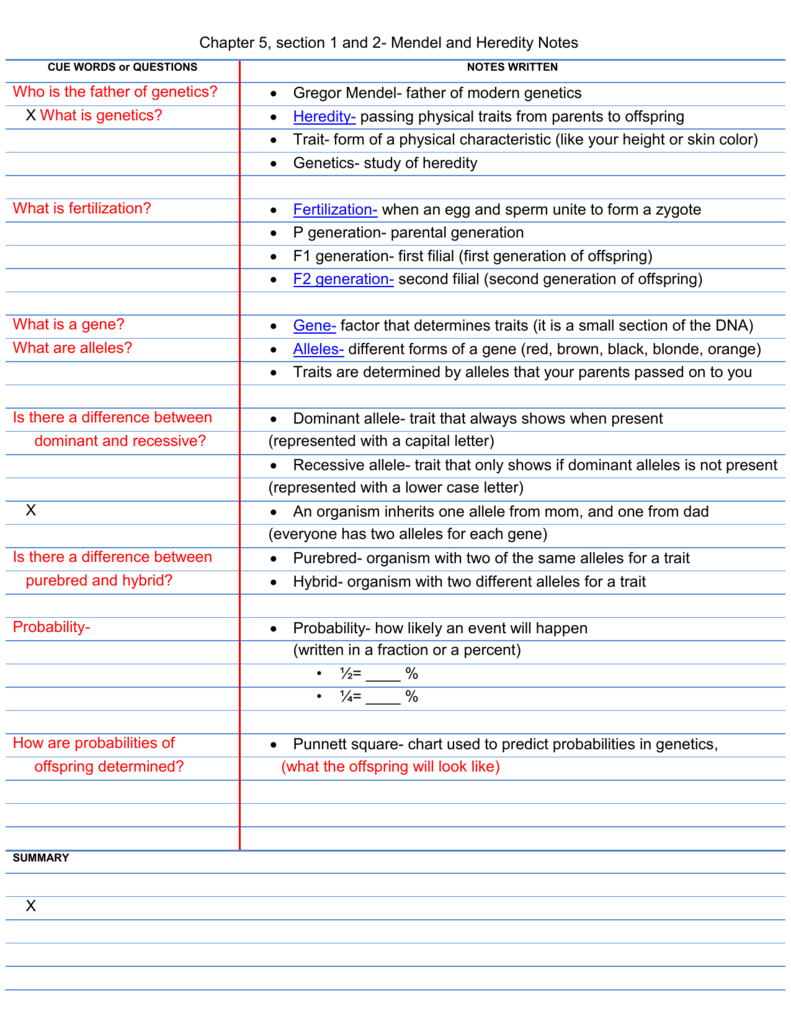Chapter 5, section 1 and 2- Mendel and Heredity Notes CUE