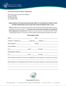 Associated Students Officer Application 100 Campus Center