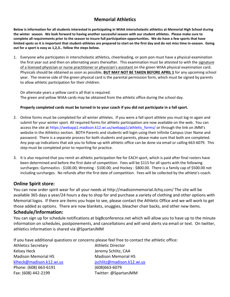 sports physical form wiaa  Requirements (Winter Sports)