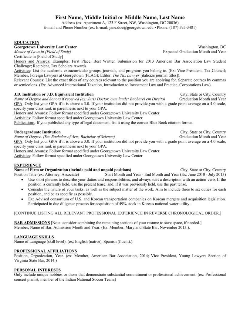 middle initial on resume