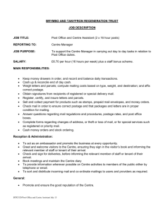 Post Office/Centre Assistant Job Description