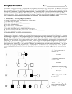 pedigree practice with the royal family answer key
