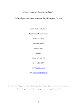 "Cartel or agents of social conflicts?"" Political parties in contemporary"