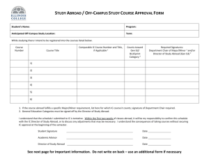 Off-Campus/Study Abroad Course Approval Form