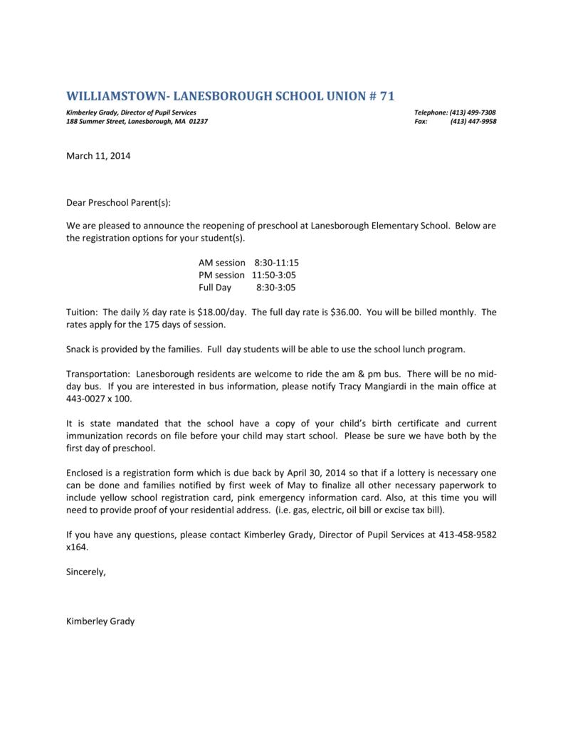 Preschool Letter 2013-2014 - Lanesborough Elementary School