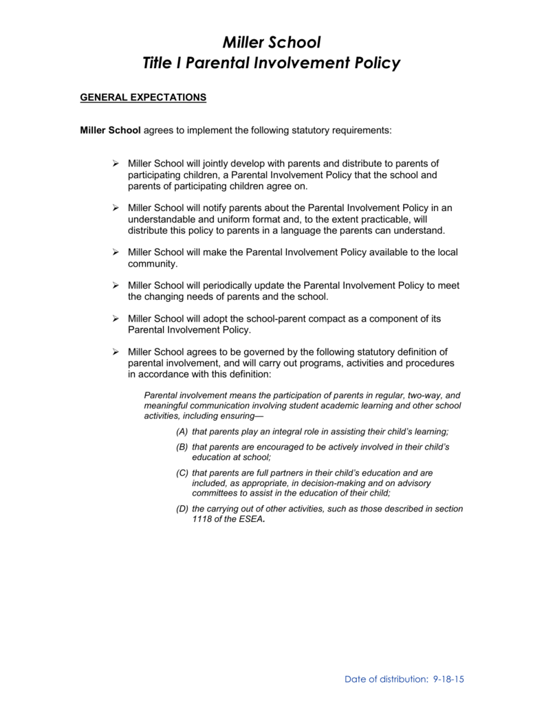 miller school title one parent involvement policy