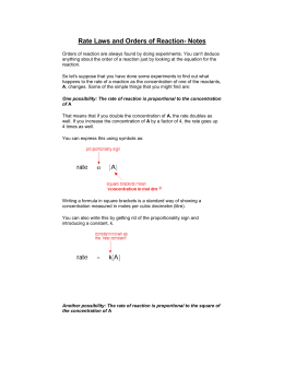 Rate Laws and Order of Reaction Notes