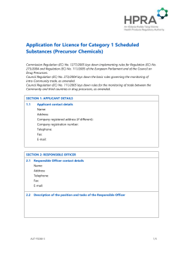 Application for licence for category 1 scheduled substances