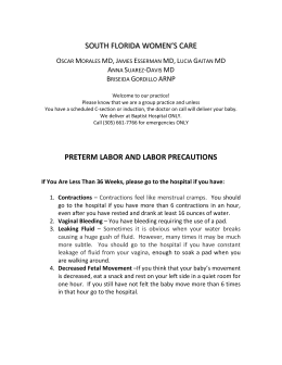 Labor Instructions - South Florida Women`s Care
