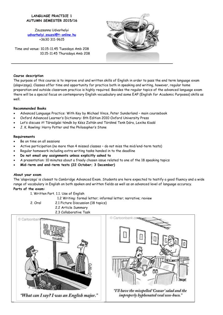 LANGUAGE PRACTICE 1 AUTUMN SEMESTER 2015/16
