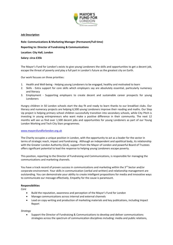 Job Description Role: Communications & Marketing Manager