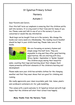 Autumn Letter to Parents – Nursery