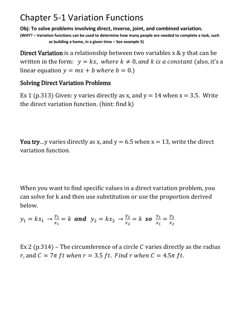 Ch 5 1 Notes Variation Functions
